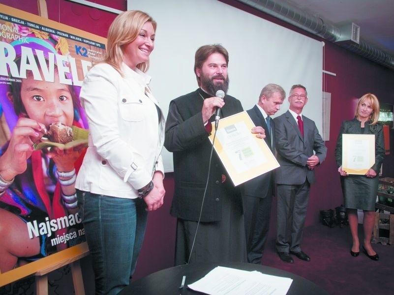 Na zdjęciu od lewej: Martyna Wojciechowska, redaktor naczelna National Geographic i o. Andrzej Borkowski, przeor monasteru