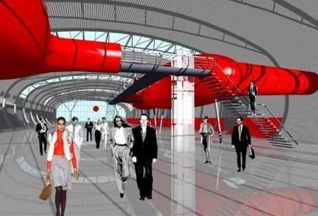 Tak będzie wyglądała po zakończeniu budowy nowa futurystyna hala, którą jako pierwsi zobaczą goście MSPO