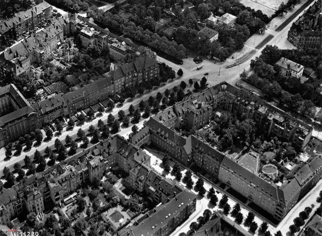 Osiedle Borek z wyraźnie widocznymi szpalerami zieleni wzdłuż głównych ulic - Breslau na przełomie lat 20 i 30 XX wieku
