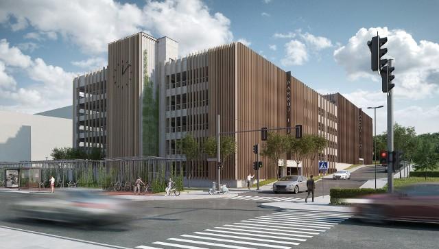 Elewacja budynku utrzymana będzie w szarościach, z pionowymi żaluzjami. W centralnym punkcie pojawi się prosty zegar. Ściany budynku zostaną zagospodarowane naturalną zielenią pnącą.