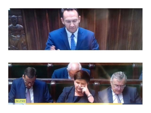 Poseł PO z Grudziądza, Tomasz Szymański zabrał głos w sejmie w debacie nad odwołaniem wicepremier Beaty Szydło i minister Elżbiety Rafalskiej.