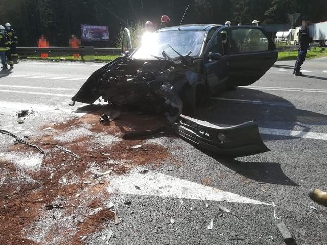 Wypadek w tzw. Widłach na DK 65