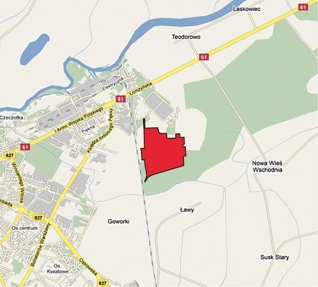Na tej, zaznaczonej na czerwono, działce ma stanąć nowa elektrownia
