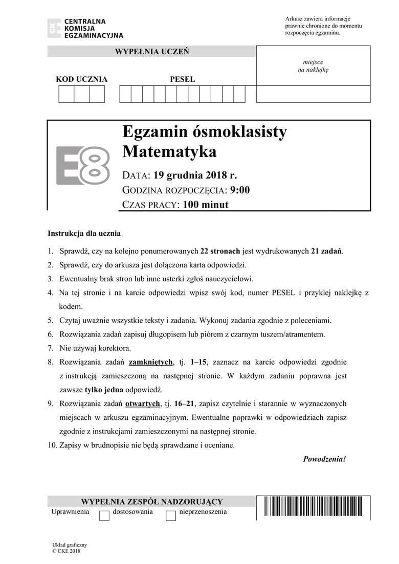 egzamin gimnazjalny 2021 matematyka odpowiedzi i obliczenia