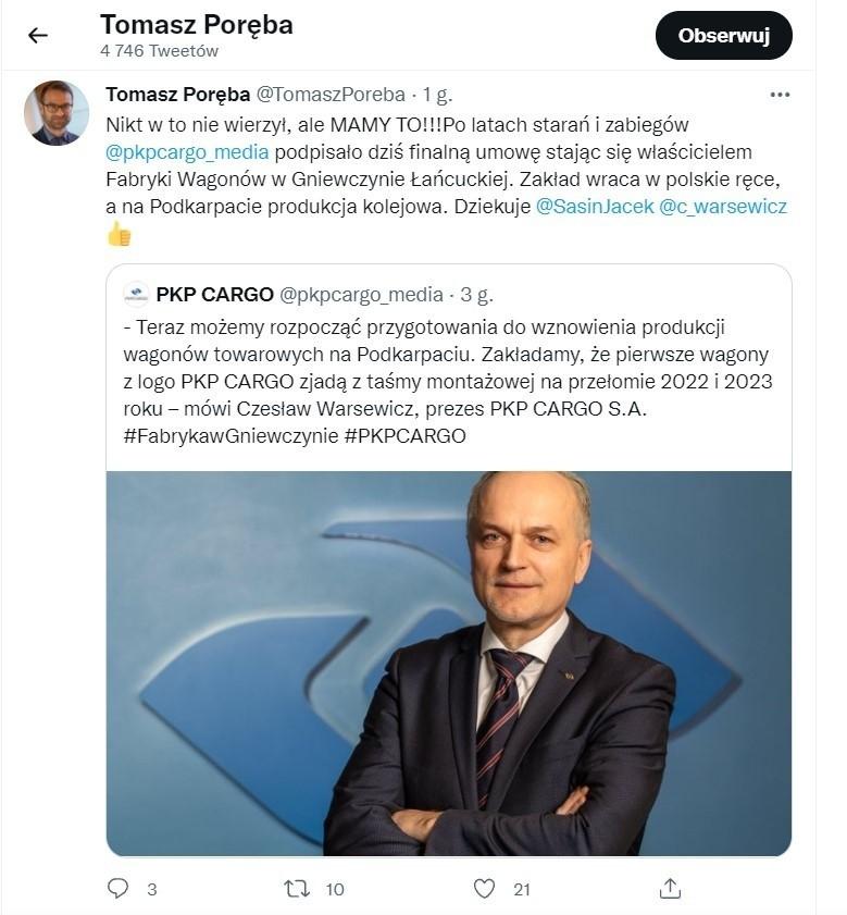 Mamy to! – napisał na Twitterze europoseł Tomasz Poręba