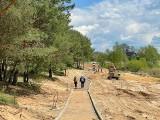 Trwa remont zalewu Lubianka w Starachowicach. Już widać zarys ścieżki rowerowej (ZDJĘCIA)
