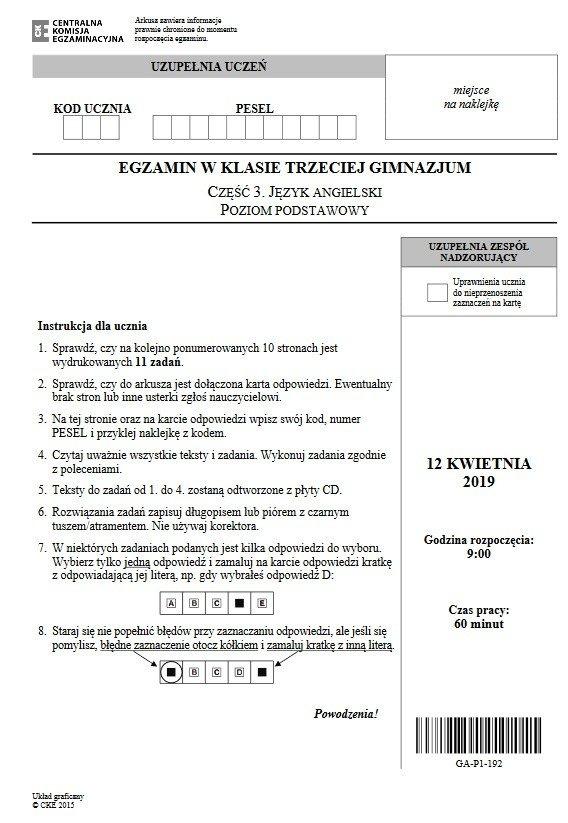 Egzamin Gimnazjalny 2019 Odpowiedzi 1204 Język Angielski