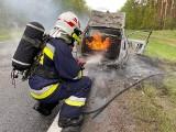 Auto z instalacją gazową spłonęło na DK nr 10, w rejonie Solca Kujawskiego [zdjęcia]