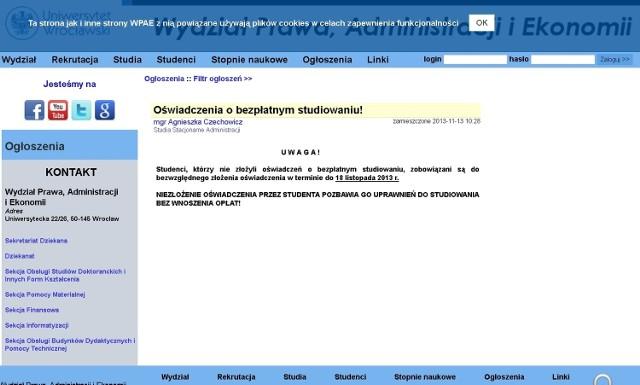 Zapis na stronach internetowych Wydziału Prawa Administracji i Ekonomii
