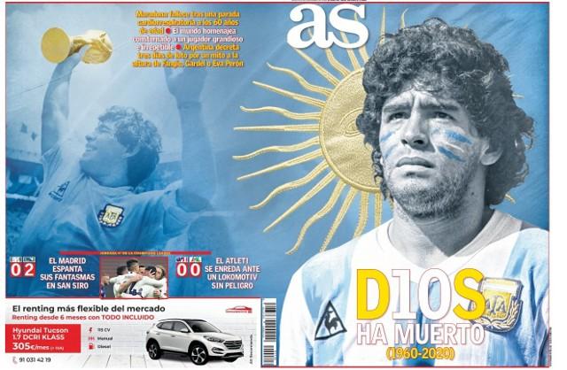 """Diego Maradona zmarł w środę 25 listopada w swoim domu w Tigre. Jednego z najlepszych piłkarzy w historii, a może nawet najlepszego, żegnają media z całego świata. Francuski L'Equipe donosi z okładki, że """"Bóg nie żyje"""", angielski The Sun, że jest """"w rękach Boga"""". Na pierwszym zdjęciu okładka hiszpańskiego dziennika AS z tytułem """"Nie żyje Bóg"""""""