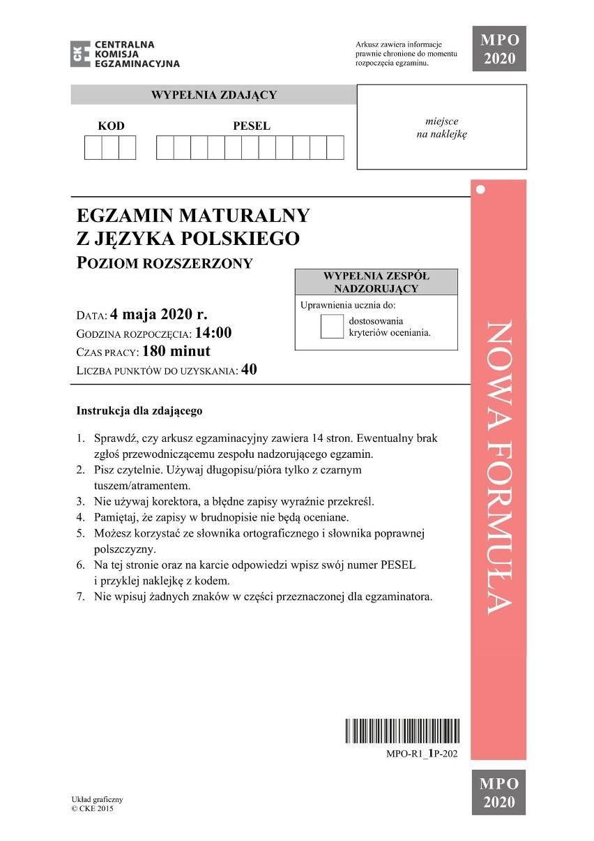 Matura 2020 JĘZYK POLSKI rozszerzenie. Odpowiedzi i arkusz pytań CKE 8.06.2020. U nas najszybciej!