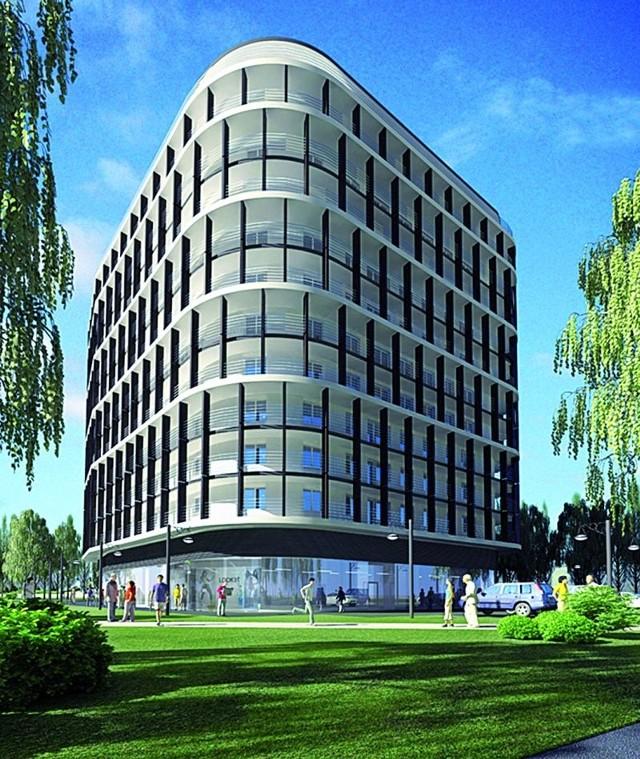 11-piętrowy, pełen szkła apartamentowiec przy skrzyżowaniu ulic Wiejskiej i Krętej w Białymstoku ma zostać wybudowany w niecałe dwa lata