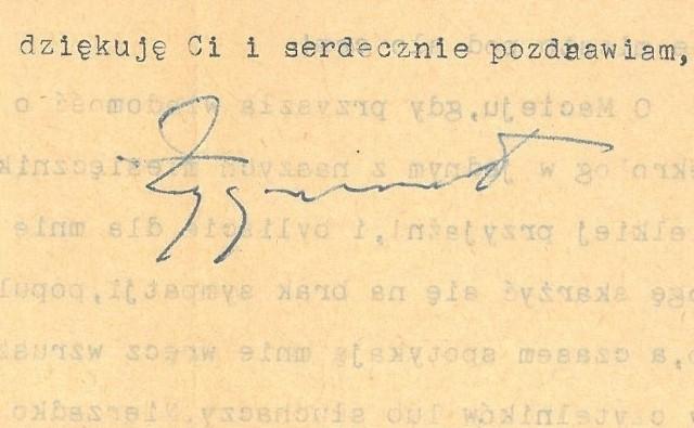 Fragment listu Zygmunta Nowakowskiego do Wandy Starzewskiej z 11 stycznia 1957, przekazany autorowi przez Pana Antoniego Czermaka 13 września 2021.