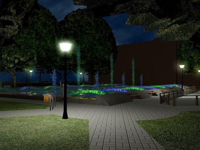 Największą ozdobą skweru będzie specjalnie podświetlona fontanna.