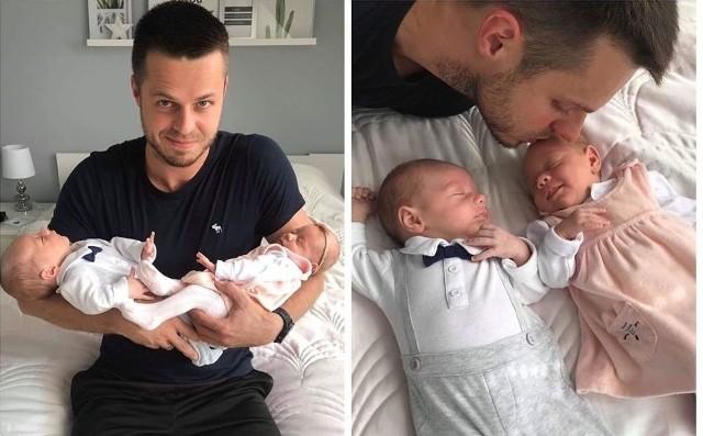 Szczęśliwy tata Mateusz Grabda z Zosią i Stasiem