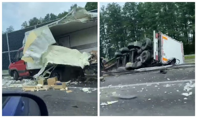 Wypadek w rejonie miejscowości Zambrzyce-Króle na S8. Zderzyły się dwie ciężarówki. Zdjęcie pochodzi z fanpejdża Kolizyjne Podlasie