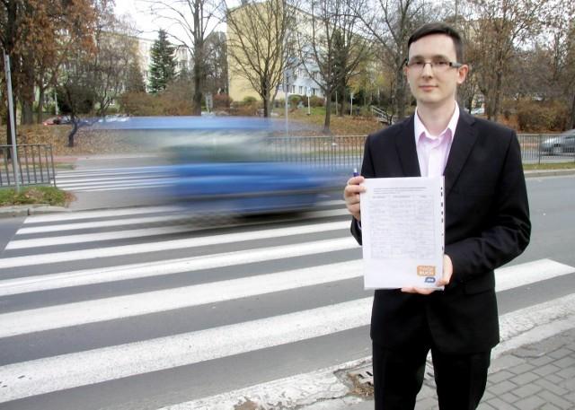 Przemysław Kowalczyk, inicjator akcji zbierania podpisów w sprawie postawienia sygnalizacji