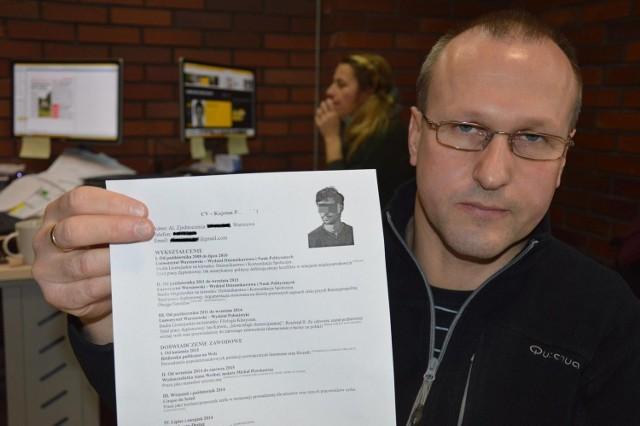 Kajetan P. zostawił w redakcji NTO swoje CV.