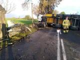 Śmiertelny wypadek w Gołębiewku na DW 222 6.10.2020. Nie żyje kierowca skody po zderzeniu czołowym z cieżarówką [zdjęcia]