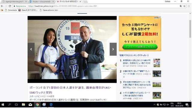 Tak wygląda internetowa strona w Japonii. Na zdjęciu Yurina Enyo i prezes UKS SMS Janusz Matusiak