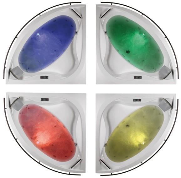 Chromoterapia do wanienWanna z chromoterapią to jeden ze sposobów na zregenerowanie organizmu po ciężkim dniu. Chromoterapia to metoda leczenia barwami. Wykorzystuje ona lecznicze właściwości, jakie drzemią w świetle i kolorach. Sami wybieramy, dostosowany do nastroju program świetlny, by osiągnąć pożądany efekt.