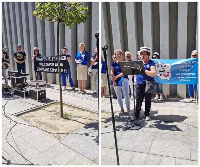 Poniedziałkowy protest pielęgniarek przed Urzędem Marszałkowskim w Lublinie