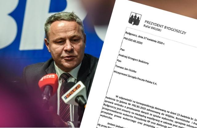Prezydent Bruski odpisuje na pismo Poczty Polskiej i odmawia przekazania danych ze spisu wyborców.