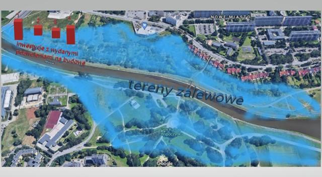 Zaznaczone na czerwono lokalizacje, w których mają powstać nowe zabudowania. (Mapy Google)