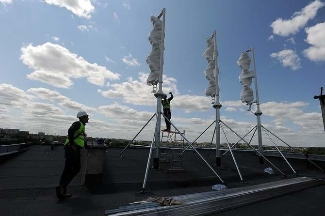 Turbiny na dachu Elektryka.
