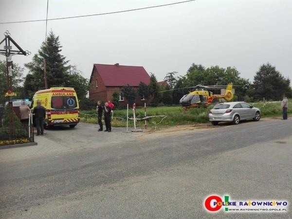 Chłopczyk został przetransportowany śmigłowcem LPR do Uniwersyteckiego Szpitala Klinicznego w Opolu.