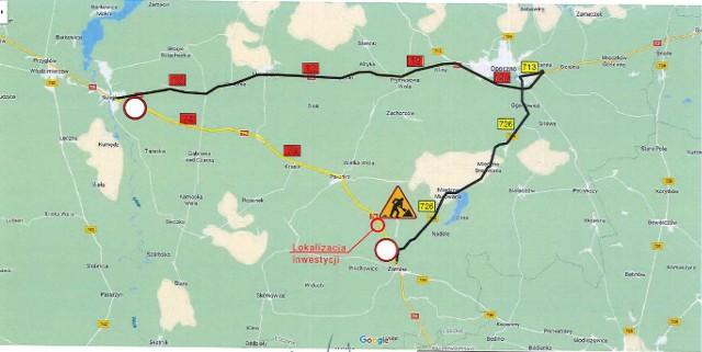 Mapka przedstawia wyznaczony objazd