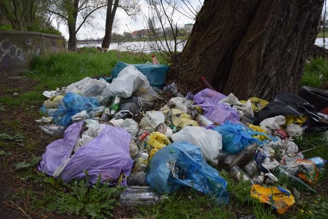 Śmieci nad brzegiem Warty walają się od lat. Dużo jest tu butelek po alkoholu.