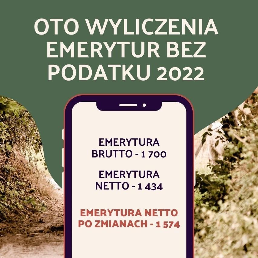 Oto wyliczenia emerytur bez podatku 2022 - kwoty netto.