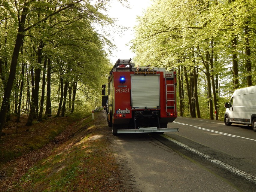 Czołowe zderzenie na DK21 między Bydlinem a Zimowiskami. Nie żyje 52-letni motocyklista [ZDJĘCIA]