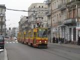 Przejazd trójwagonowym składem tramwajowym po Łodzi