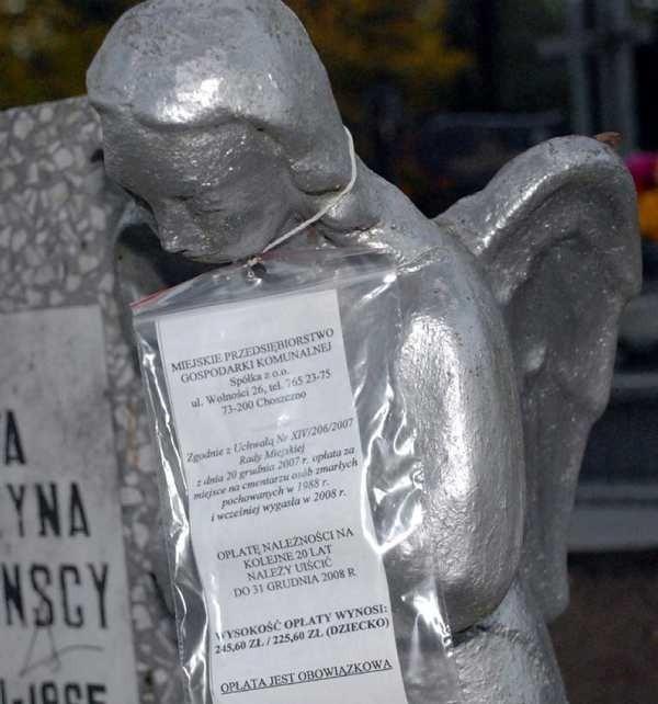 Na mogiłach wiszą już informacje, że do końca roku należy zapłacić około 250 zł za miejsce na cmentarzu