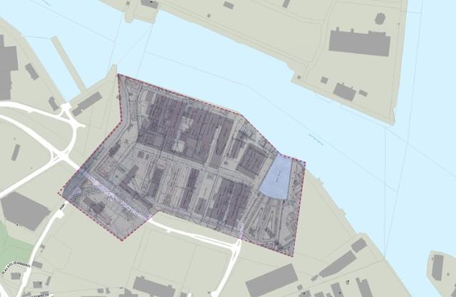 Plan Stoczni Cesarskiej z roku 1905 nałożony na współczesną mapę, aut. Rafał Kowalski