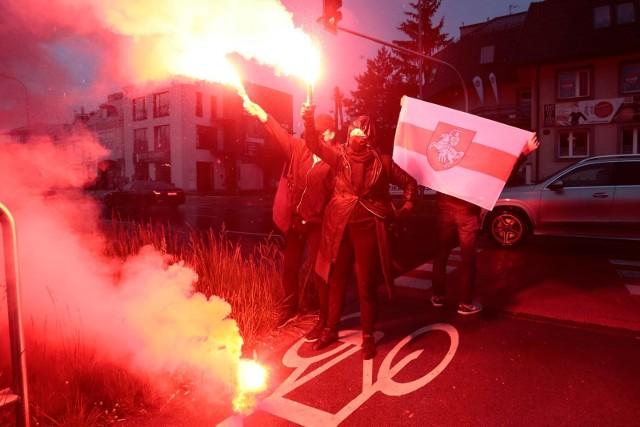 Protest pod ambasadą Białorusi w Warszawie