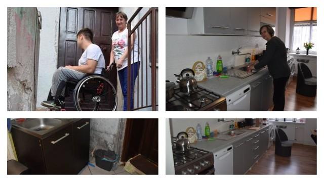 Dwa mieszkania i dwa zupełnie inne światy. Na Toruńskiej - grzyb na ścianach, jeden pokój i tylko zimna woda. Na Sikorskiego - piękna kuchnia i łazienka oraz osobny pokój dla pani Ewy i jej wnuka Adriana z nowymi meblami i sprzętami. Po naszej interwencji: babcia i Adrian wreszcie mieszkają w komfortowych warunkach.