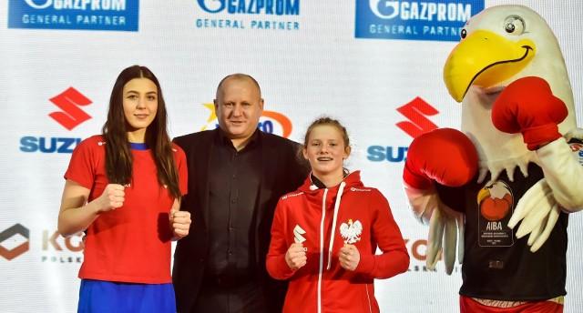 W Binkowski Hotel odbyła się ceremonia ważenia zawodniczek przed finałami Młodzieżowych Mistrzostw Świata Kielce 2021. Na zdjęciu pięściarski z Grzegorzem Nowaczkiem, prezesem Polskiego Związku Bokserskiego.