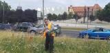 Radny Robert Stankiewicz w centrum miasta kosił wysoką trawę, by ratować honor Szczecina. Doczekał się odpowiedzi na apel