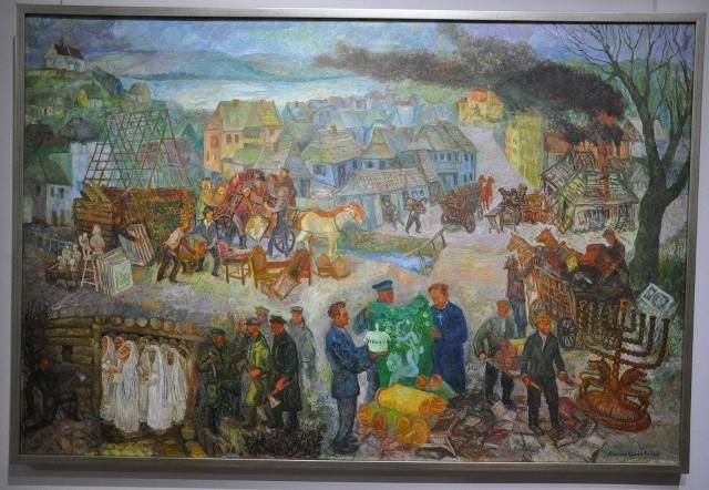 Na obrazie Chaima Goldberga jest scena z księdzem polskim wspólnie z chłopami rabującymi precjoza żydowskie oraz scena z polskimi żołnierzami w rogatywkach, z nożami i siekierami, napadającymi na ukrywających się Żydów