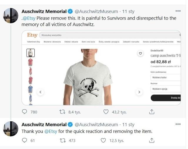"""Treść wpisu Muzeum Aschwitz pod wzbudzającymi oburzenie koszulkami z nadrukiem """"Camp Aushwitz"""""""