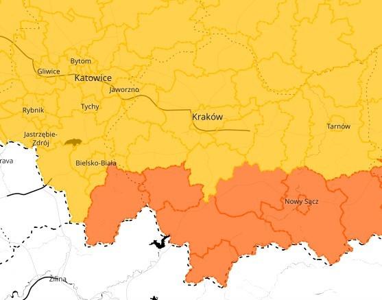 IMGW ostrzega przed burzami w Małopolsce