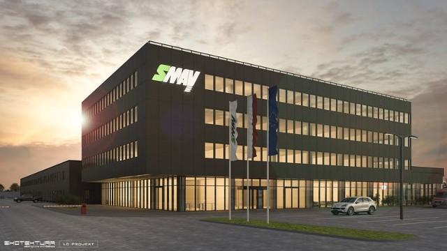 Wizualizacja siedziby firmy SMAY budowanej w Podłężu koło Niepołomic. Obiekt będzie gotowy już wiosną 2022 roku