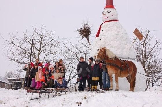 Monument, który liczy w obwodzie ponad siedem metrów, stoi na górce pomiędzy blokami, na saniach ze śniegu.
