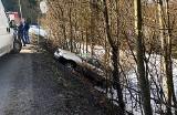 Siekierczyna. Fiat rozbity Opel w rowie. Strażacy w akcji