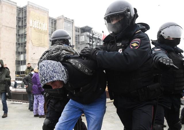 Aresztowanie uczestników protestu w Moskwie