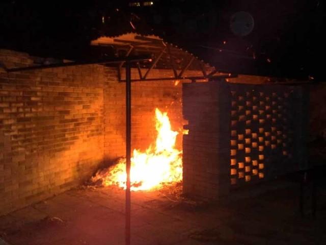 Pożar śmietnika na Waryńskiego