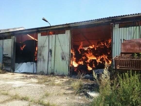 Miejsce pożaru siana w Łodzince.